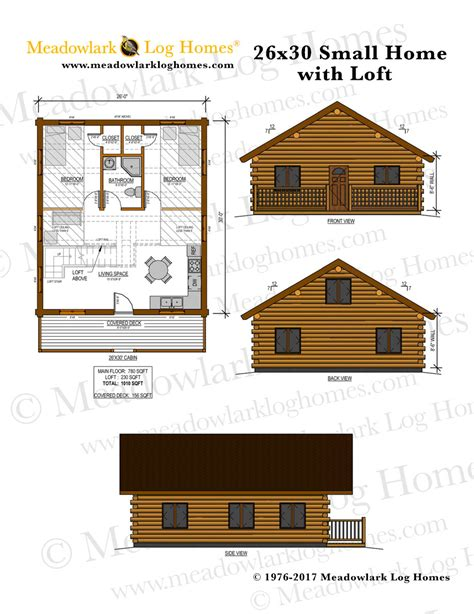 small log home plans with loft 26x30 log home w loft meadowlark log homes