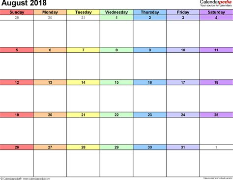 August 2018 Calendar Printable August 2018 Calendars For Word Excel Pdf