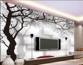 Wall Murals Black And White Wall Paper Black And White Tree Box Non Woven Wallpaper