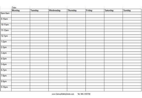 template weekly calendar template with times week blank time slots