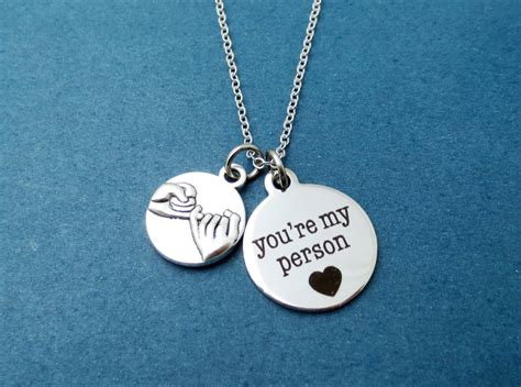 promise you re my person silver necklace grey