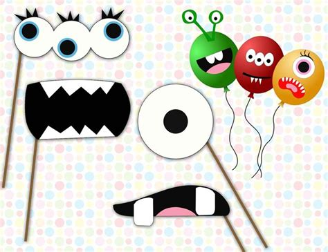 free printable monster photo booth props image of cute monster face stickers or photo booth props