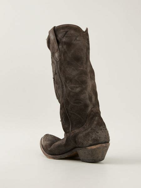 Golden Goose Cowboy Boots by Golden Goose Deluxe Brand Distressed Cowboy Boots In Brown