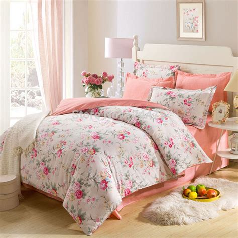 pin up bedding new 100 cotton 4pcs bedding set 1950s retro pastoral style pin up floral print princess duvet