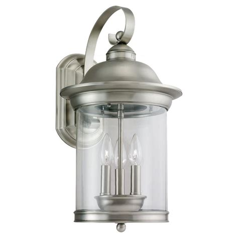 Brushed Nickel Outdoor Light Fixtures Sea Gull Lighting Hermitage 3 Light Outdoor Antique Brushed Nickel Wall Mount Fixture 88083 965