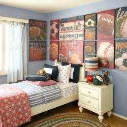 vintage sports themed boy s bedroom traditional