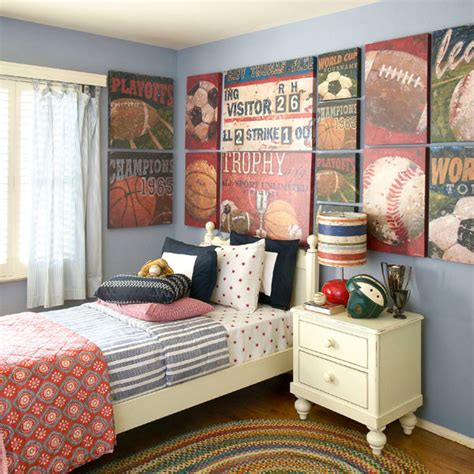 Vintage Sports Themed Boy S Bedroom Traditional | vintage sports themed boy s bedroom traditional