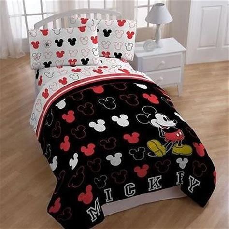 mickey mouse twin bed in a bag kids red white black mickey mouse comforter sheets bed in