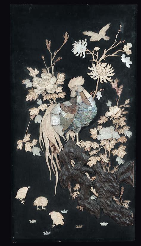 tappeti giapponesi pannello in legno con intarsi in madreperla e avorio