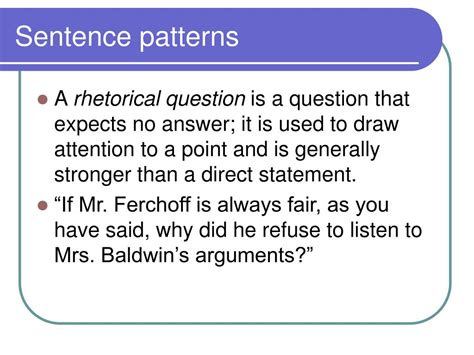 sentence pattern question and answers ppt analysis of diction and syntax powerpoint