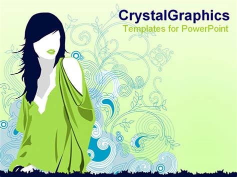 Powerpoint Template A Girl Wearing Stylish Clothes With Flowers In The Background 11870 Fashion Powerpoint Templates