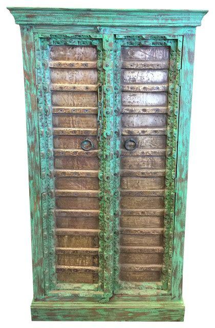 Armoire Patinée by Consigned Antique Armoire Brass Patina Green Storage