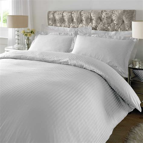 sateen comforter sets xquisite home sateen stripe 300tc duvet cover set in white