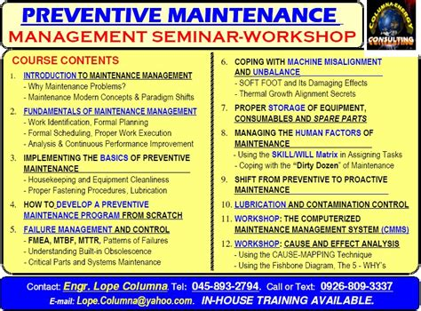 columna energy preventive maintenance management seminar
