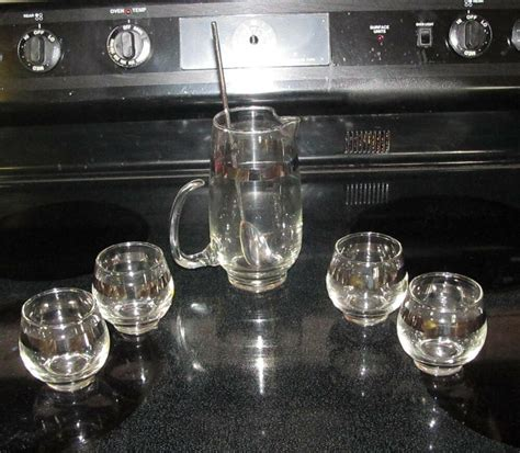 Glass Barware by Vintage Glass Roly Poly Libbey Barware Set 4