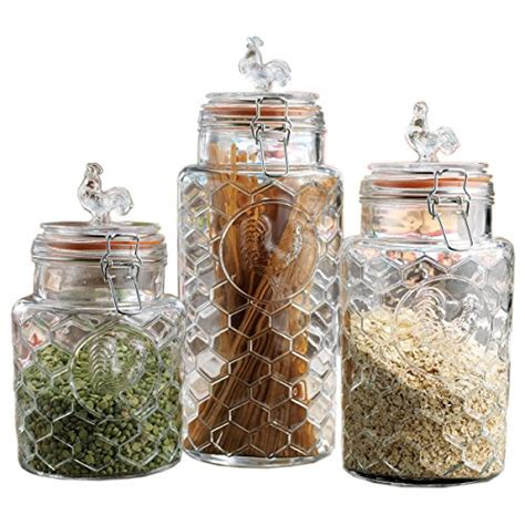 clear glass kitchen canister sets save 44 set of three 3 clear glass airtight