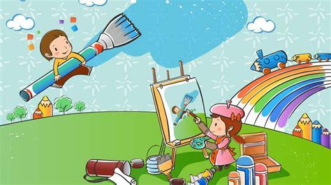 wallpaper cartoon vetor vector cartoon childhood wallpaper 1 20 1366x768
