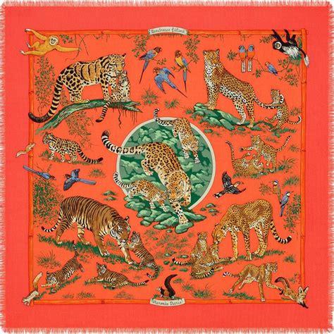 36 x 36 fringed scarf herm 232 s tendresse feline