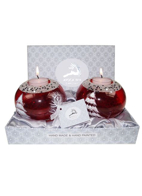 avoca blue red christmas candle holder pair blarney