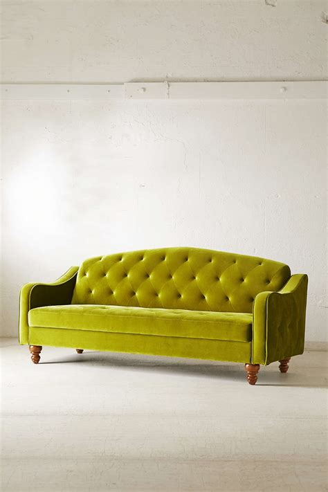 green vintage couch vintage green velvet tufted sofa with brown wood legs for