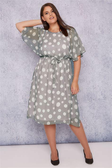 Midi Dress Polkadot Simple jo grey polka dot chiffon midi dress with sleeves plus size 16 to 32