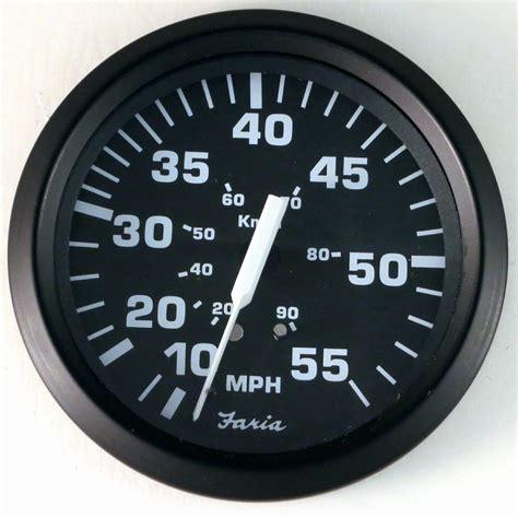 boat speedometer new faria euro black 55 mph boat speedometer gauge speedo