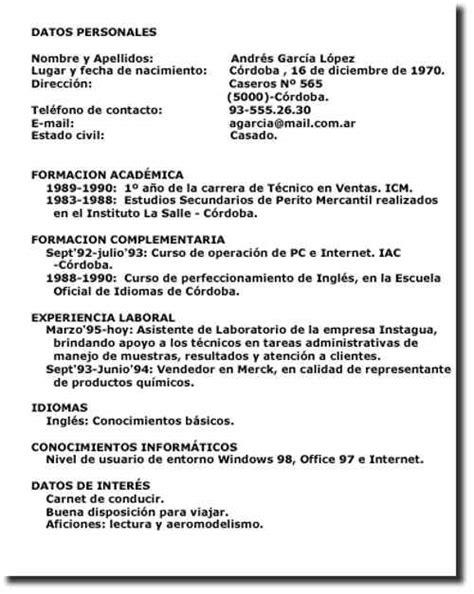 Modelo De Curriculum Vitae Cronologico Para Completar Modelos De Curriculum Vitae