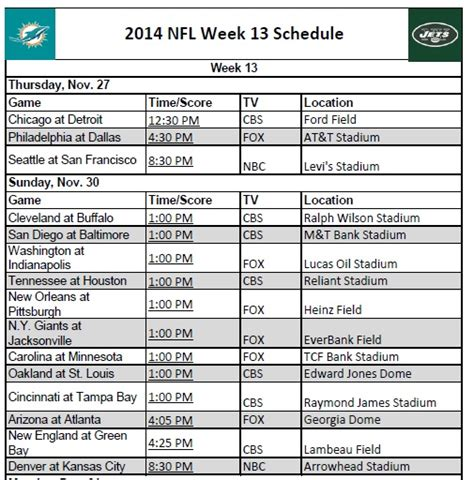 printable nfl schedule for this week search results for printable nfl schedule week 8
