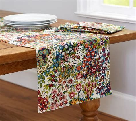 print table runners blossom print table runner pottery barn