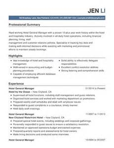 Resume Summary Exles Hospitality Best Hospitality Resume Templates Sles Writing Resume Sle Writing Resume Sle