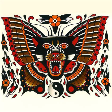 flying panther tattoo flying panther butterfly design
