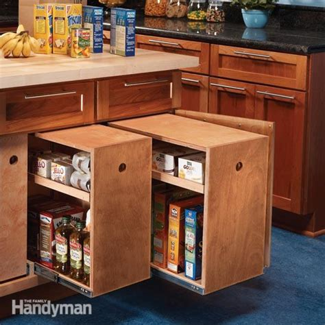 Kitchen Storage Cabinets With Drawers Build Organized Lower Cabinet Rollouts For Increased Kitchen Storage The Family Handyman