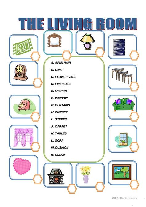 Living Room Vocabulary Furniture In The Living Room Worksheet Free Esl