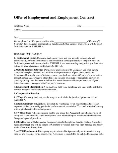 Contract Letter For New Employee free printable employment contract sle form generic