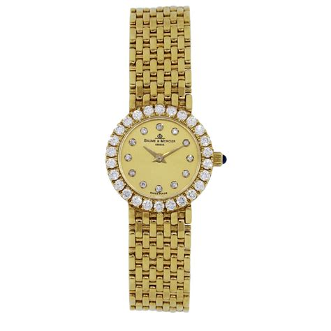 baume mercier 18k yellow gold bezel