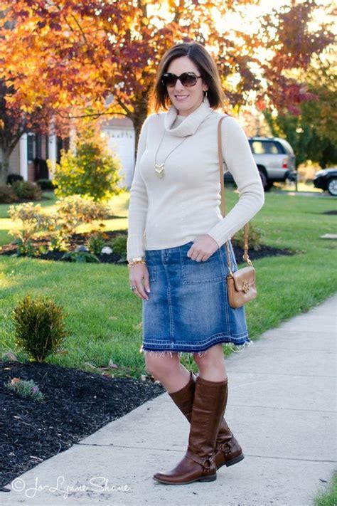 fall inspiration denim skirt boots