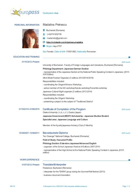 Modelo Cv Europass Madalina Petrescu Cv Europass