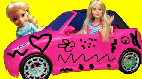 barbie cars from the elsa and anna draw on barbie s new car does
