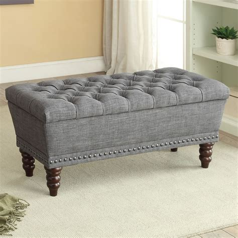 storage bench grey nspire hton double storage bench grey 401 317d gy modern furniture canada