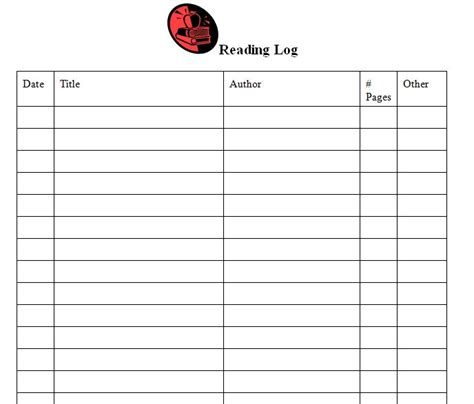 Middle School Reading Log Template free printable reading log templates search results