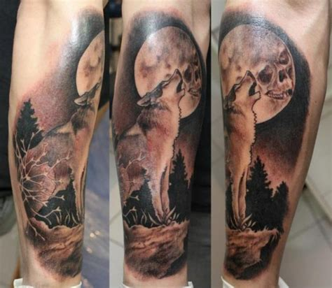 wolf moon tattoo wolf howling at the moon tattooimages biz