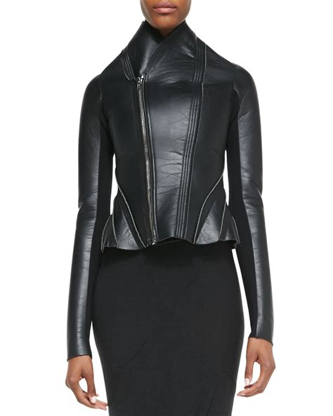 Rick Owens Lilies Layer Jacket by Rick Owens Lilies Asymmetric Leather Ponte Flared Jacket
