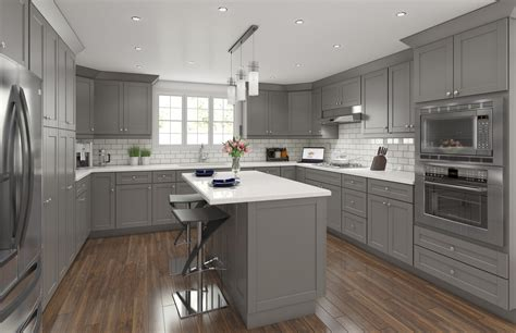 shaker grey traditional kitchen cabinets framed