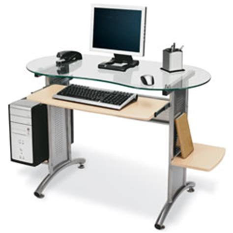 Office Depot Glass Computer Desk Office Depot Brand Glass Top Desk 29 910 H X 52 W X 21 1116 D Maple By Office Depot Officemax