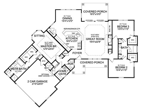 non open floor plans plan 3877ja rustic angled ranch home plan house