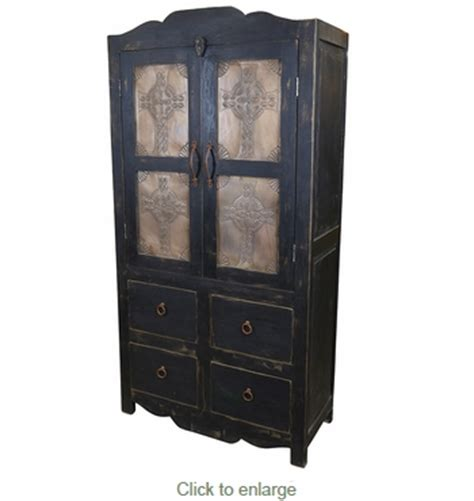 Black Wood Armoire by Black Painted Wood Armoire With Cross Embossed Tin Doors