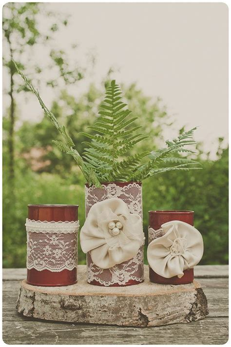 tin decorations 3 vintage lace tin can vases ivory wedding