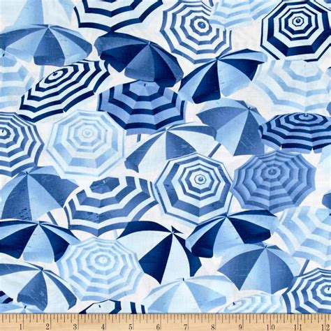 umbrella pattern fabric timeless treasures pool rules packed beach umbrellas blue