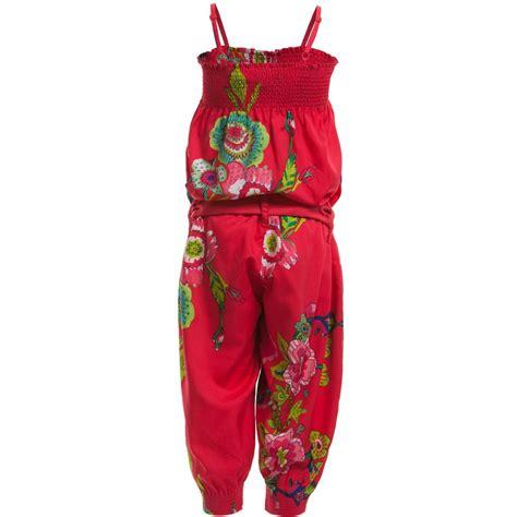 Jumpsuit Floral Jumpsuit Jumpsuit Wanita desigual pink silky satin floral jumpsuit childrensalon