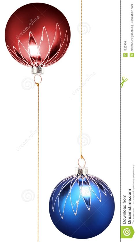 two christmas spheres of dark blue and red color royalty